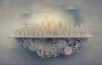 City construction model with cogwheel mechanism on grunge background