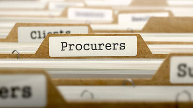 Procurers Concept. Word on Folder Register of Card Index. Selective Focus.